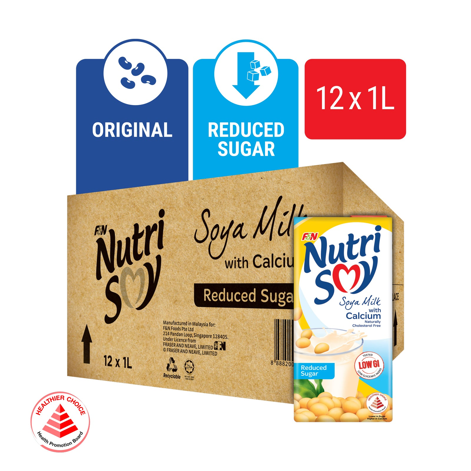 15106-NUTRISOY Reduced Sugar Soya Milk UHT 1L x 12