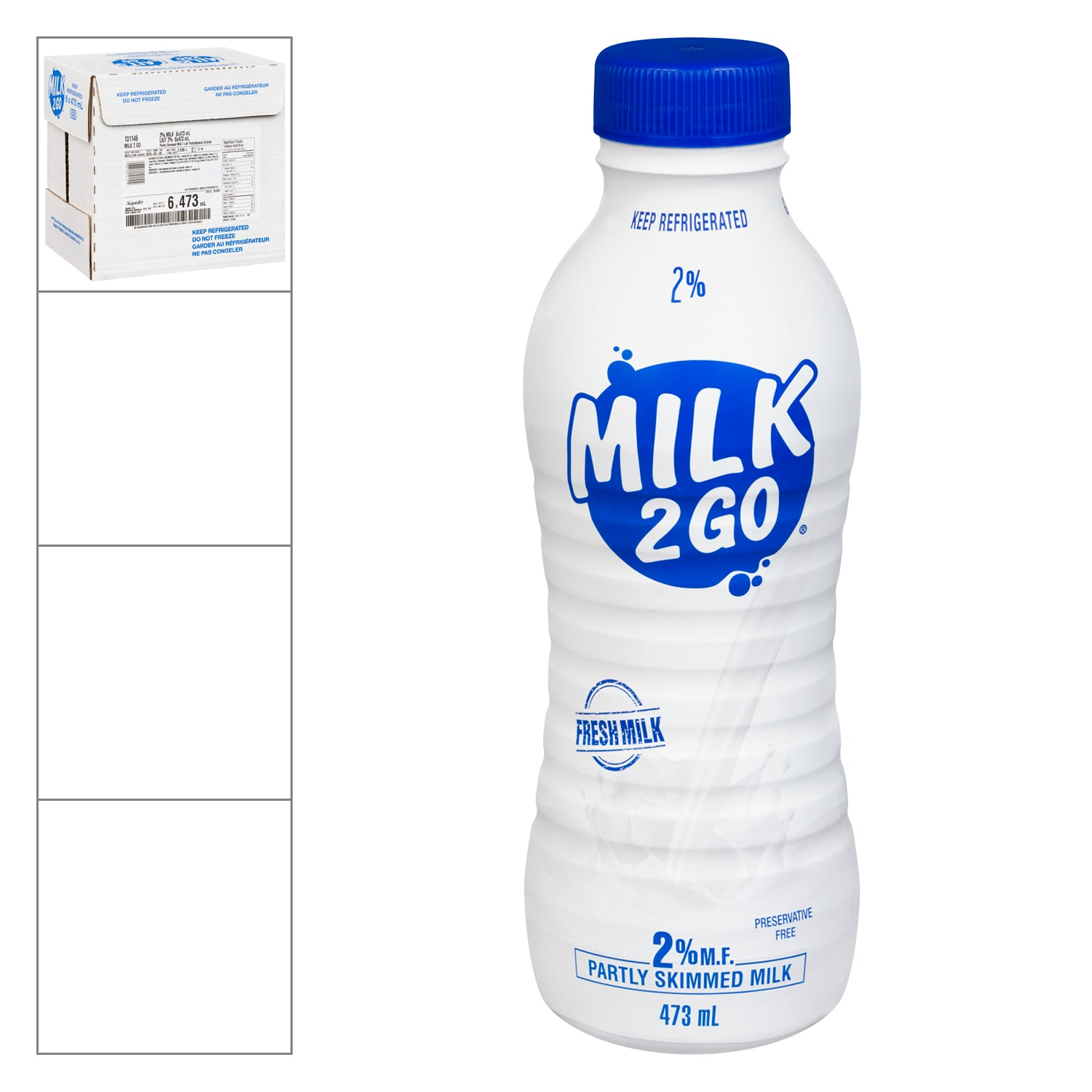 Milk2Go 2% 473 ml - 6 Pack [$1.50/bottle]