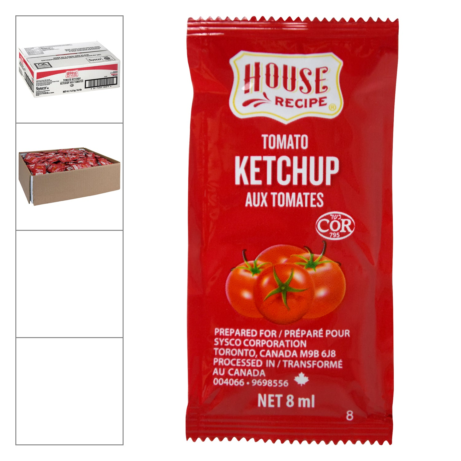 Sysco House Recipe Ketchup Packet 8 ml - 504 Pack [$0.04/each]