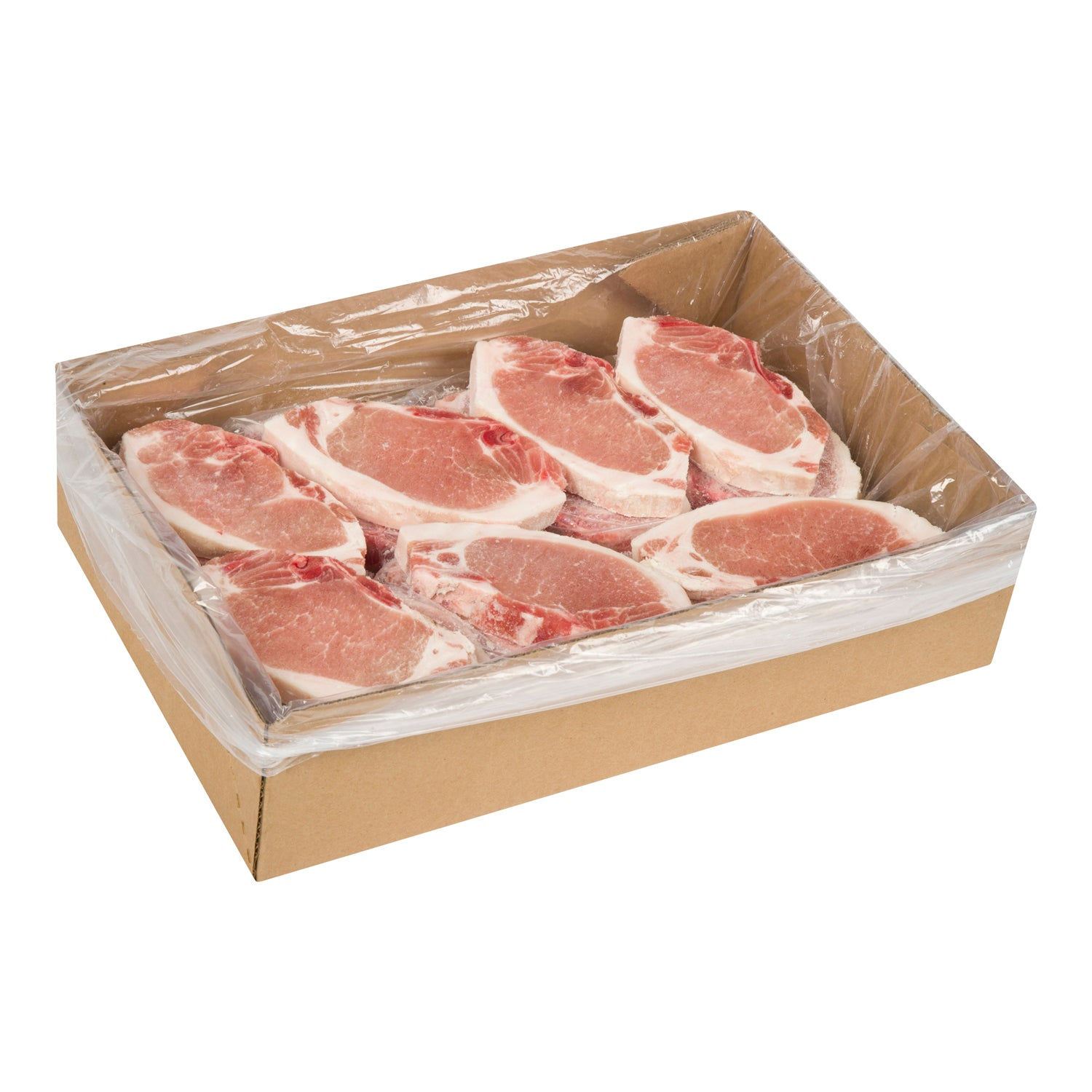 Sysco Butcher Block Frozen Centre Cut Bone-in Pork Chops 10 lb - 1 Pack [$9.50/lb]