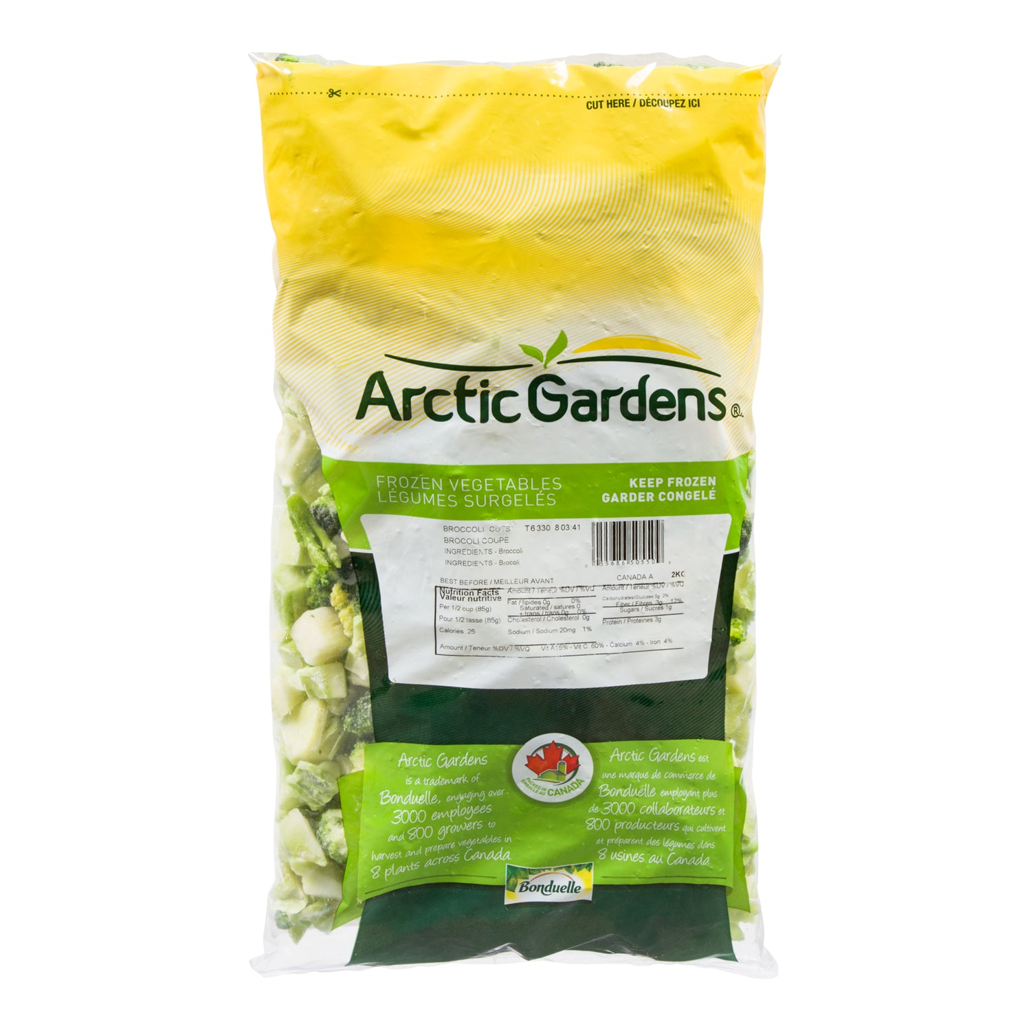 Arctic Garden Frozen Cut Broccoli 2 kg - 6 Pack [$4.50/kg]