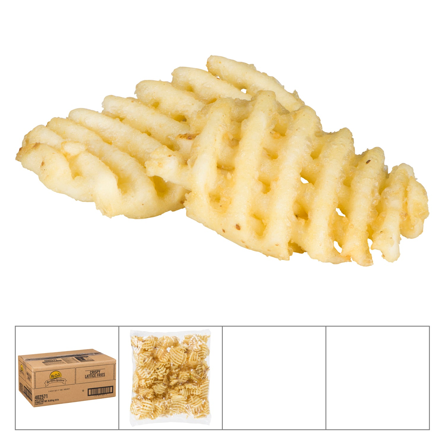 McCain Frozen Crispy Lattice Cut Fries 4 lb - 6 Pack [$2.25/lb]