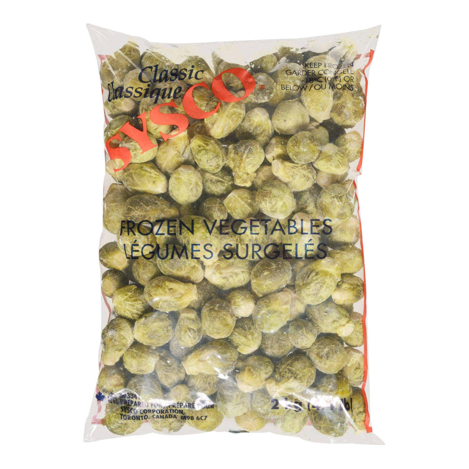 Sysco Classic Frozen Brussel Sprouts 2 kg - 6 Pack [$4.00/kg]