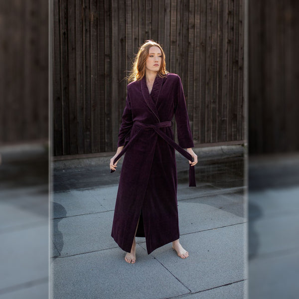 Diamond Tea Purple Velour Tie Robe