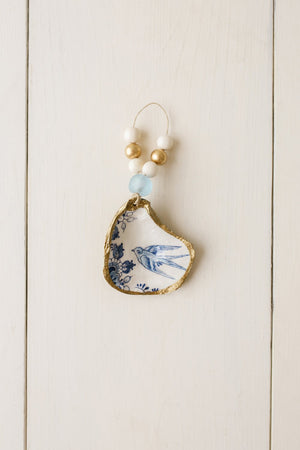 Grit & Grace Decoupage Oyster Shell Ornament: Indigo Collection