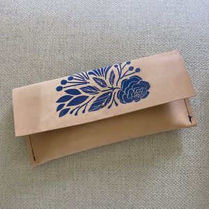 Indigo Bee Co. Indigo + Leather Clutch
