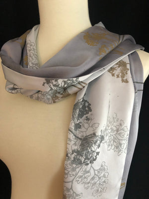 Paige Hathaway Thorn Slate Gray Small Silk Scarf