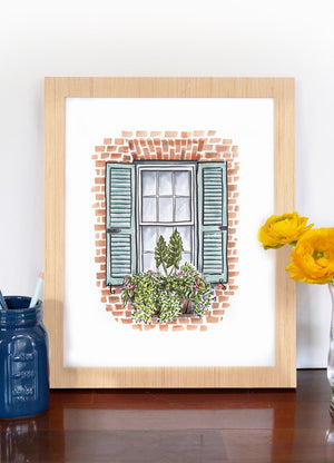 "Texture Design Co. Window Box Print ""Brick House and Blue Shutters"""