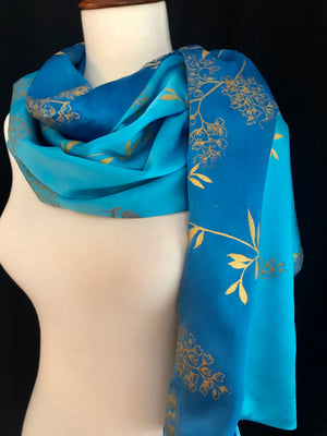 Paige Hathaway Thorn Turquoise Small Silk Scarf