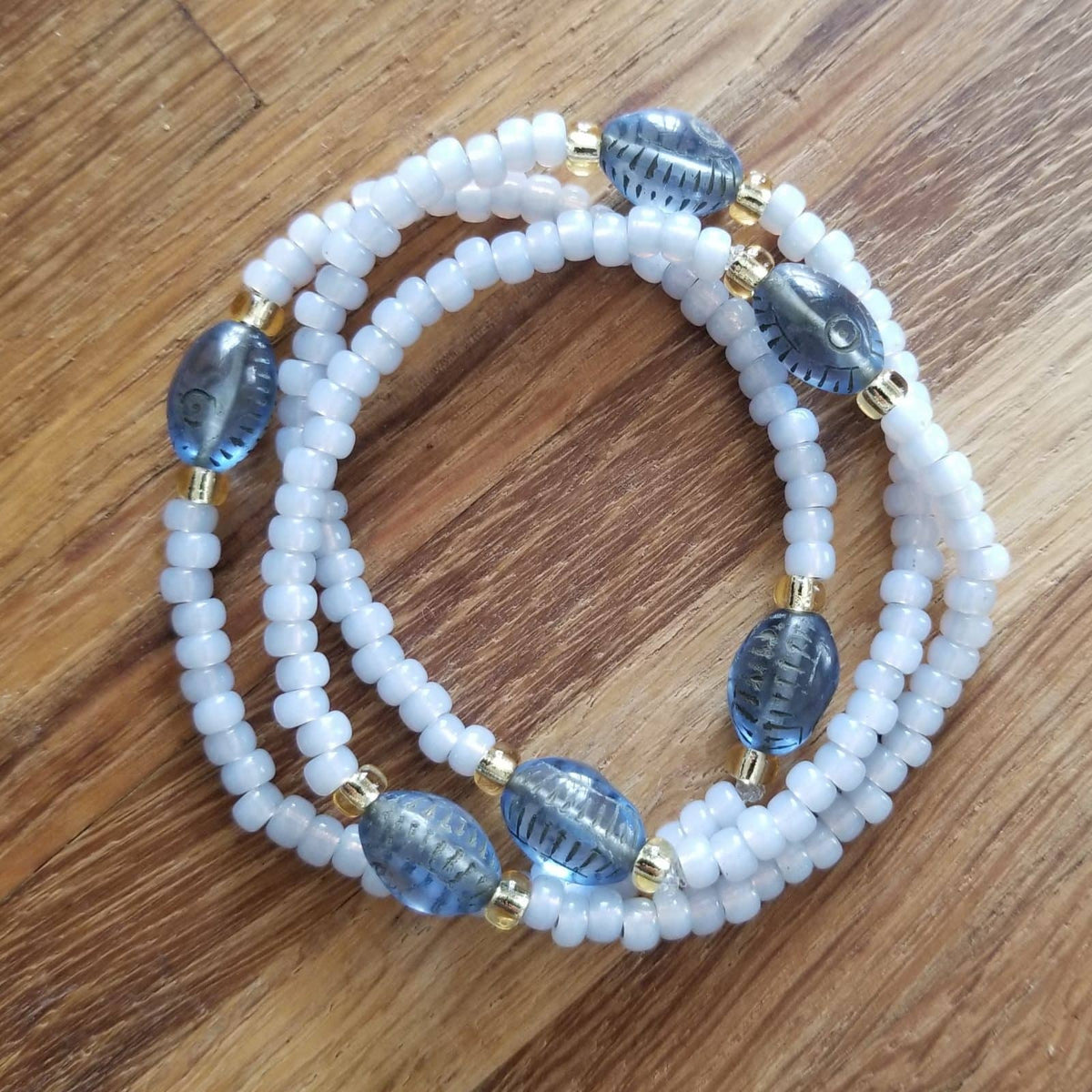 Evil Eye Stacking Sky Opal Bracelets