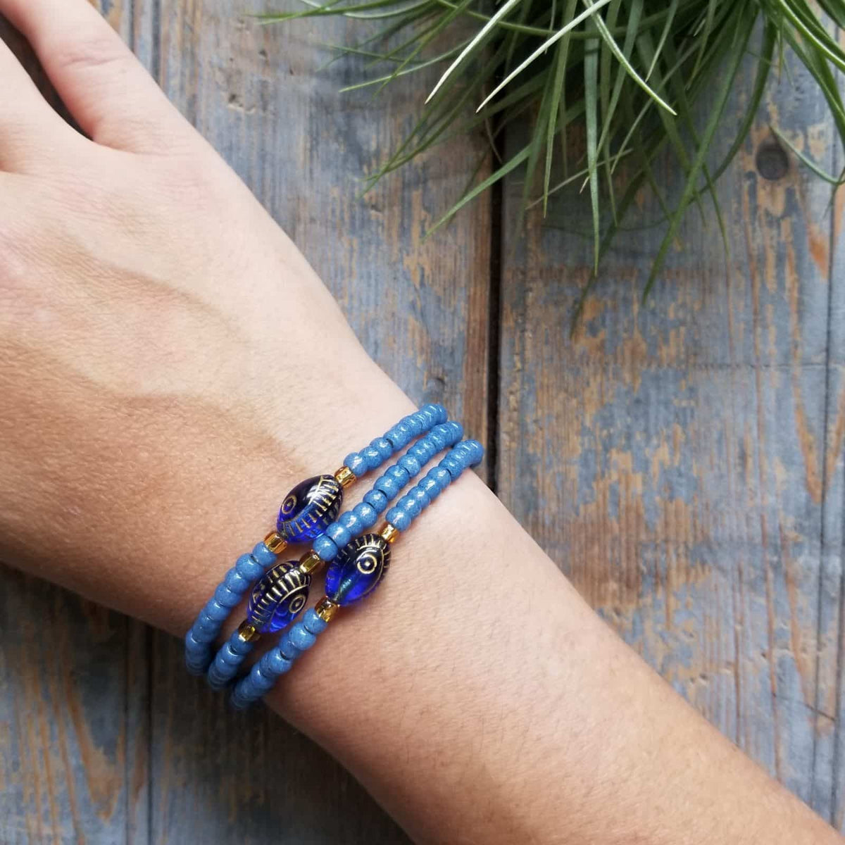 Evil Eye Stacking Royal Blues Bracelets