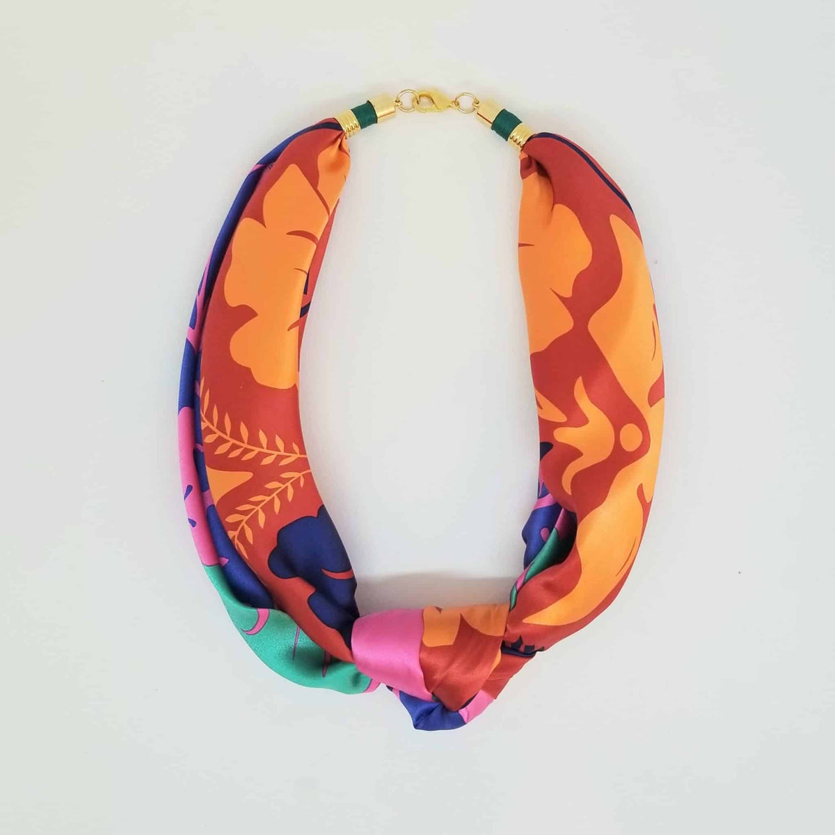 Scarf Tie Pink & Orange Necklace