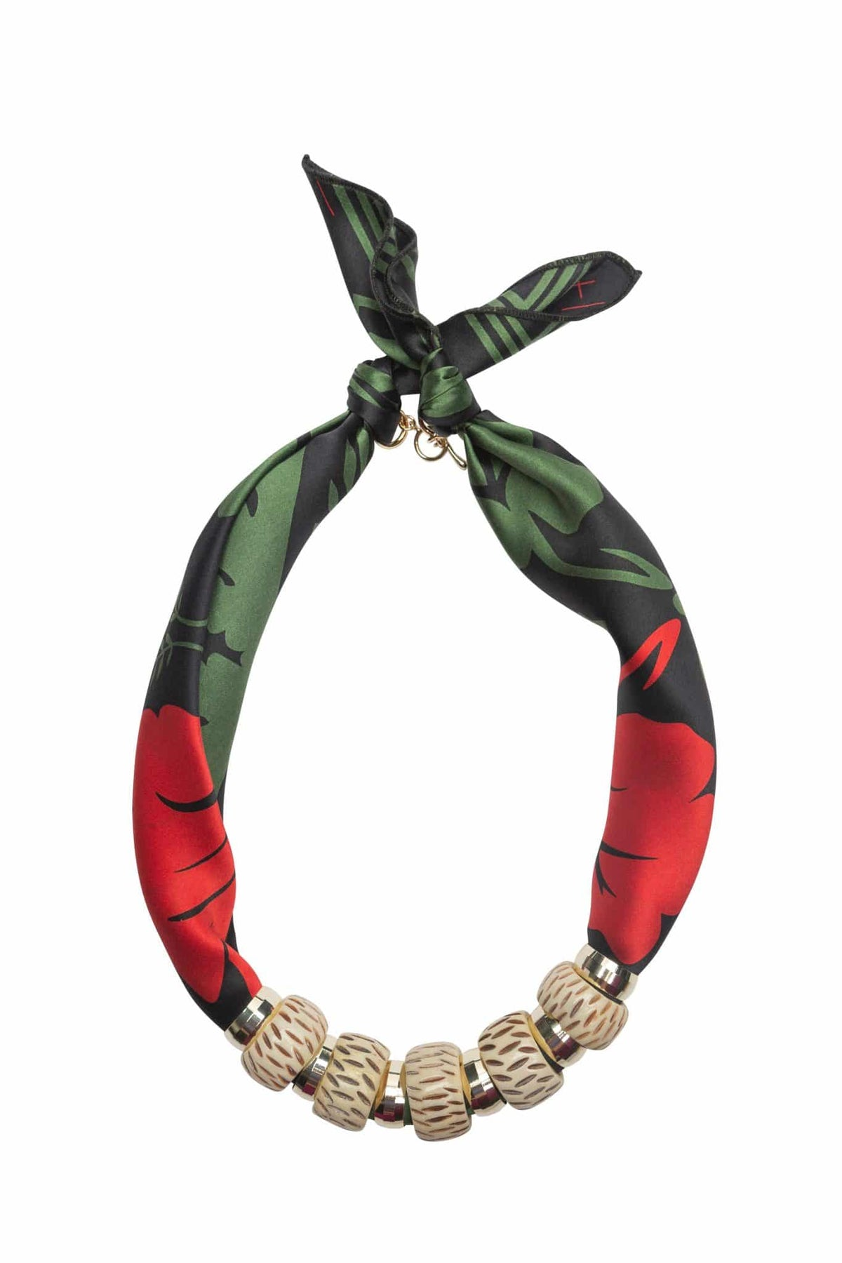 Classic Bone Bead Scarf Necklace Red Green