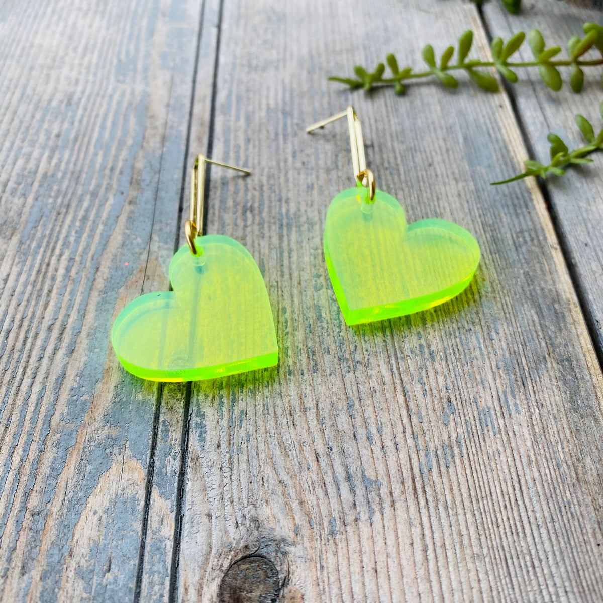 Heart Drop Earrings Neon Green