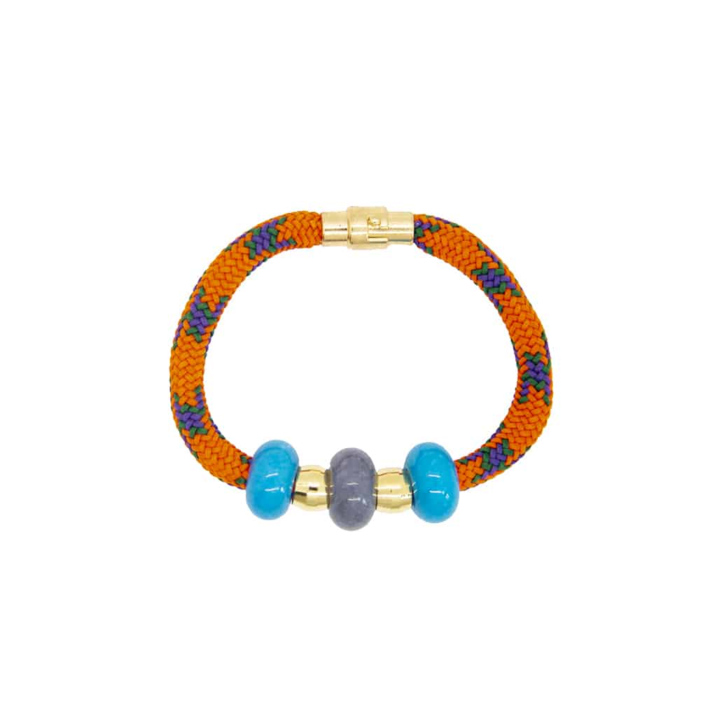Colored Jade Bracelet Orange and Turquoise