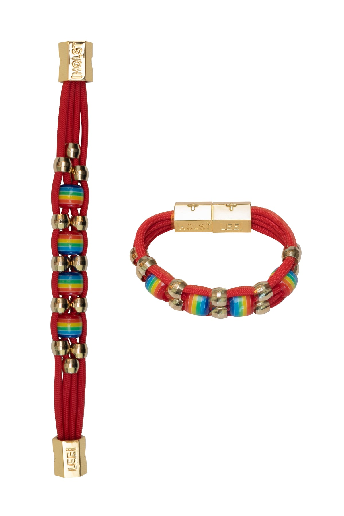 Beaded Rainbow Red Bracelet