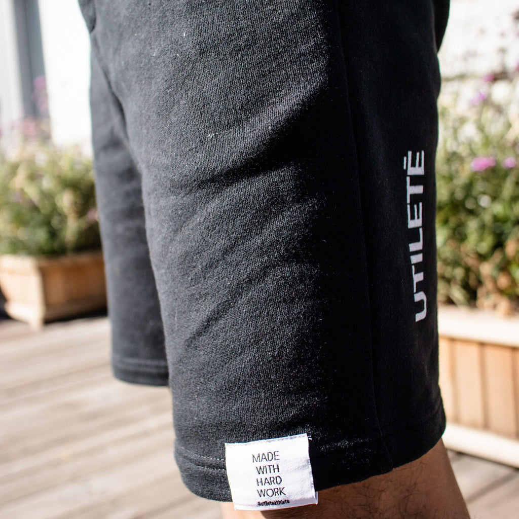 Men's Midweight Fleece Shorts, Black-Men's Bottoms-Utiletē-Small-Utiletē
