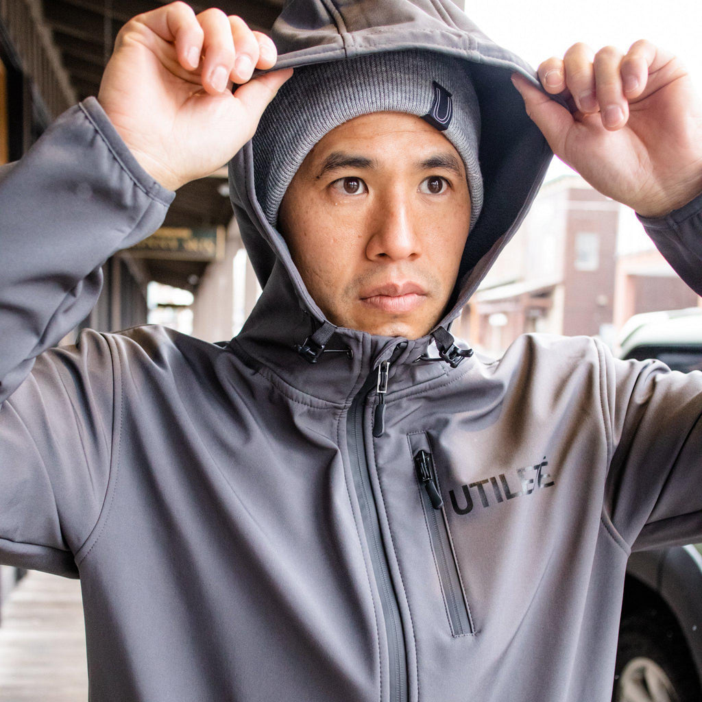 The Standard Issue Soft Shell Jacket, Graphite-Men's Tops-Utiletē-Utiletē