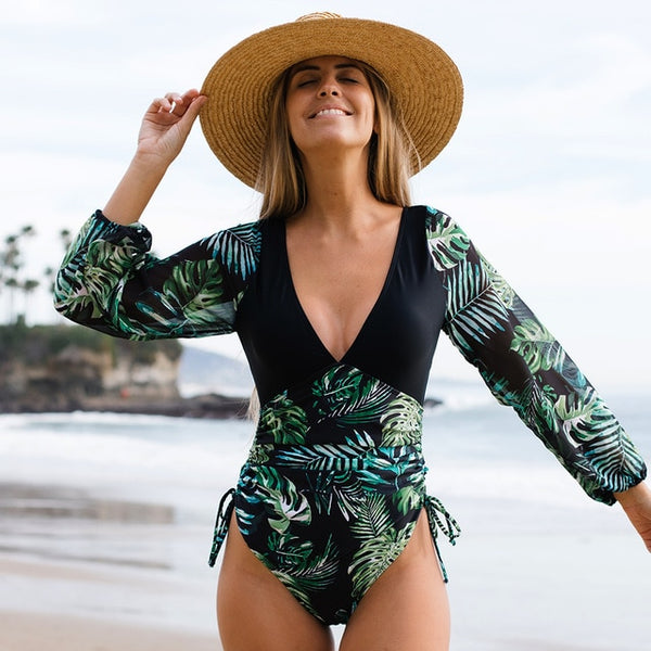 Long Sleeve V Neck Print Lace Up String One Piece Swimsuit