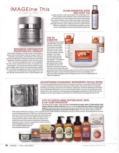 Article in Image magazine about skin care products