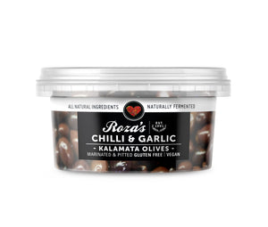 Roza's Chilli & Garlic Kalamata Olives 200g