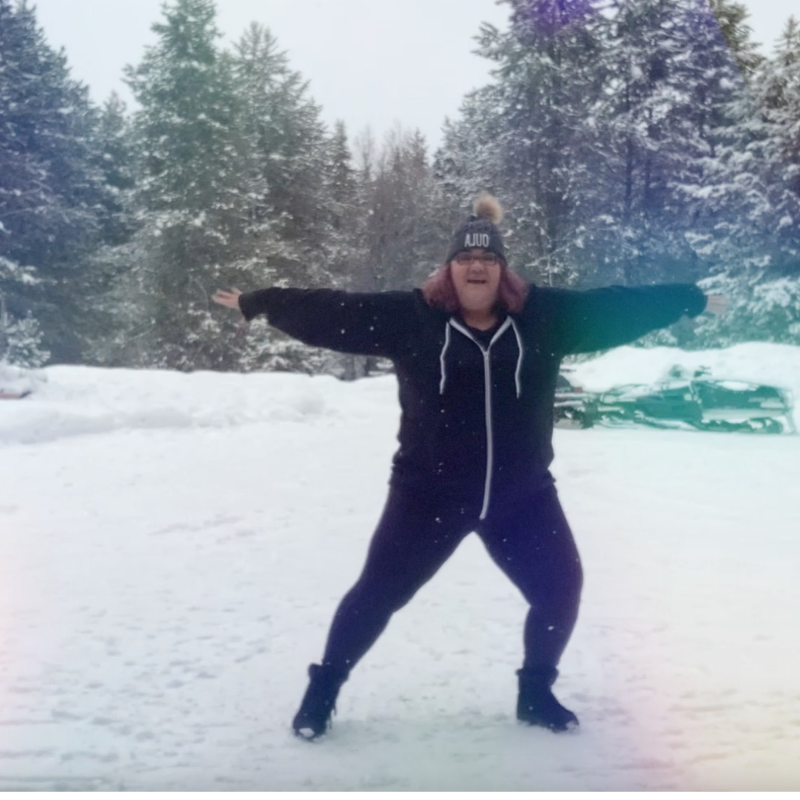 Carrie dancing in snow