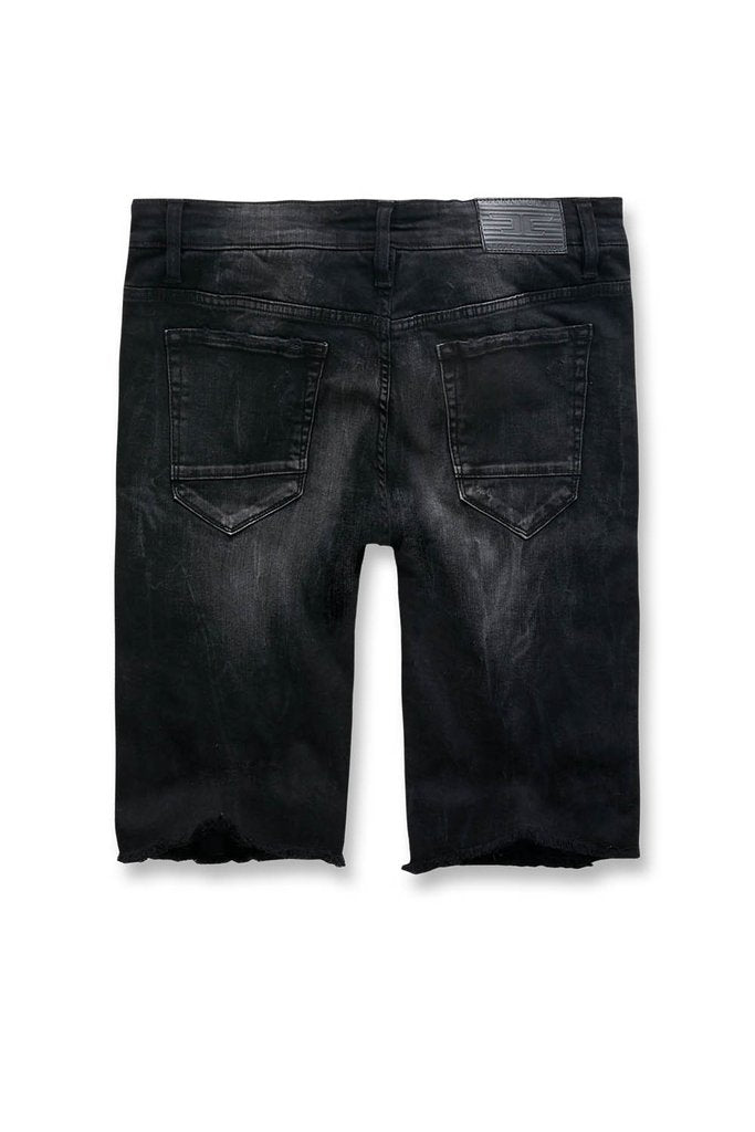 DAYTONA STRIPED DENIM SHORTS (BLACK SHADOW)