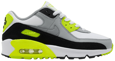 "Nike Air Max 90 LTR ""White/Particle Grey/Volt"" Grade School Kids' Shoe"