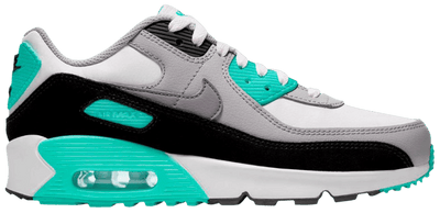 "Nike Air Max 90 ""White/Particle Grey/Hyper Turquoise"" Grade School Kids' Shoe"