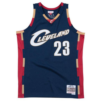 Lebron James Cleveland Cavaliers Mitchell and Ness Men's Navy Throwback Jesey