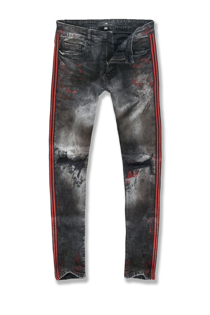 Sean - Sugar Hill Striped Denim (Crimson)