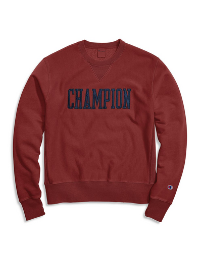 CHAMPION LIFE MEN'S VINTAGE WASH REVERSE WEAVE CREW, SATIN BLOCK LOGO