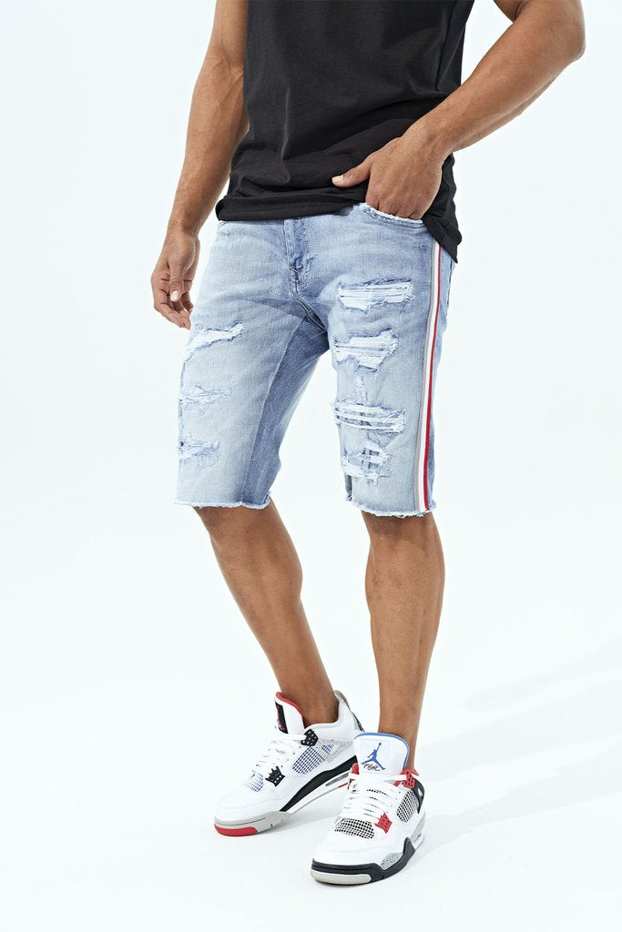 Jordan Craig - Daytona Striped Denim Shorts (Ice Blue)