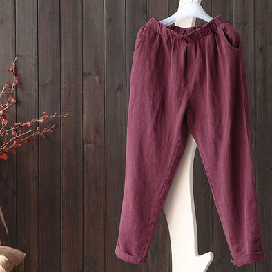Cotton And Linen Female Pants