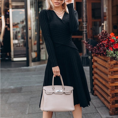 Fashion Designer Pleated Knitted Dress