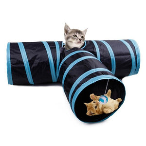 Foldable Cats Play Tunnel 3 Holes Pet Cat Tunnel