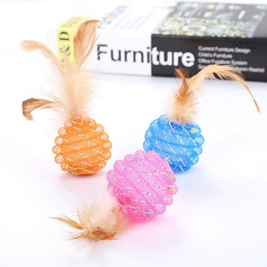 1PC Cats Feather Balls Toy Colorful Scratching Cats Toys