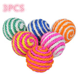 3/Pcs New Pets Cats Dogs Toy Sisal Ball Kitten Teaser
