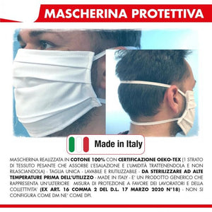 Mascherina lavabile in cotone bianco Made in Italy