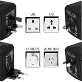 All-In-One International Universal Power Adapter with 6.3A 4 USB for UK/EU/AU/Asia