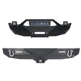 Blade Stubby Front Bumper w/ 60W Work Light Bar & Different Trail Rear Bumper Combo(07-18 Jeep Wrangler JK)