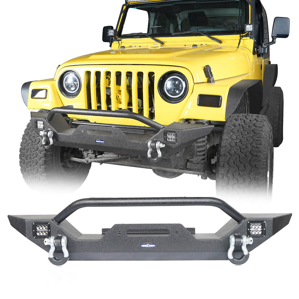 Different Trail Rock Mid Front Bumper w/ Winch Plate & 2x 18W LED Lighting(87-06 Jeep Wrangler TJ YJ)