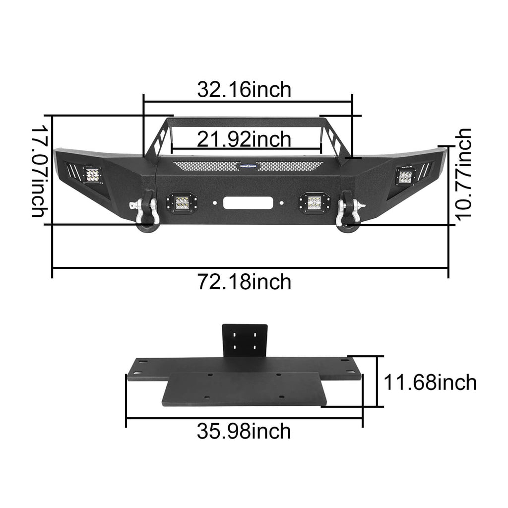 Full Width Front Bumper with Angled Hoop(09-14 Ford F-150,Excluding Raptor)