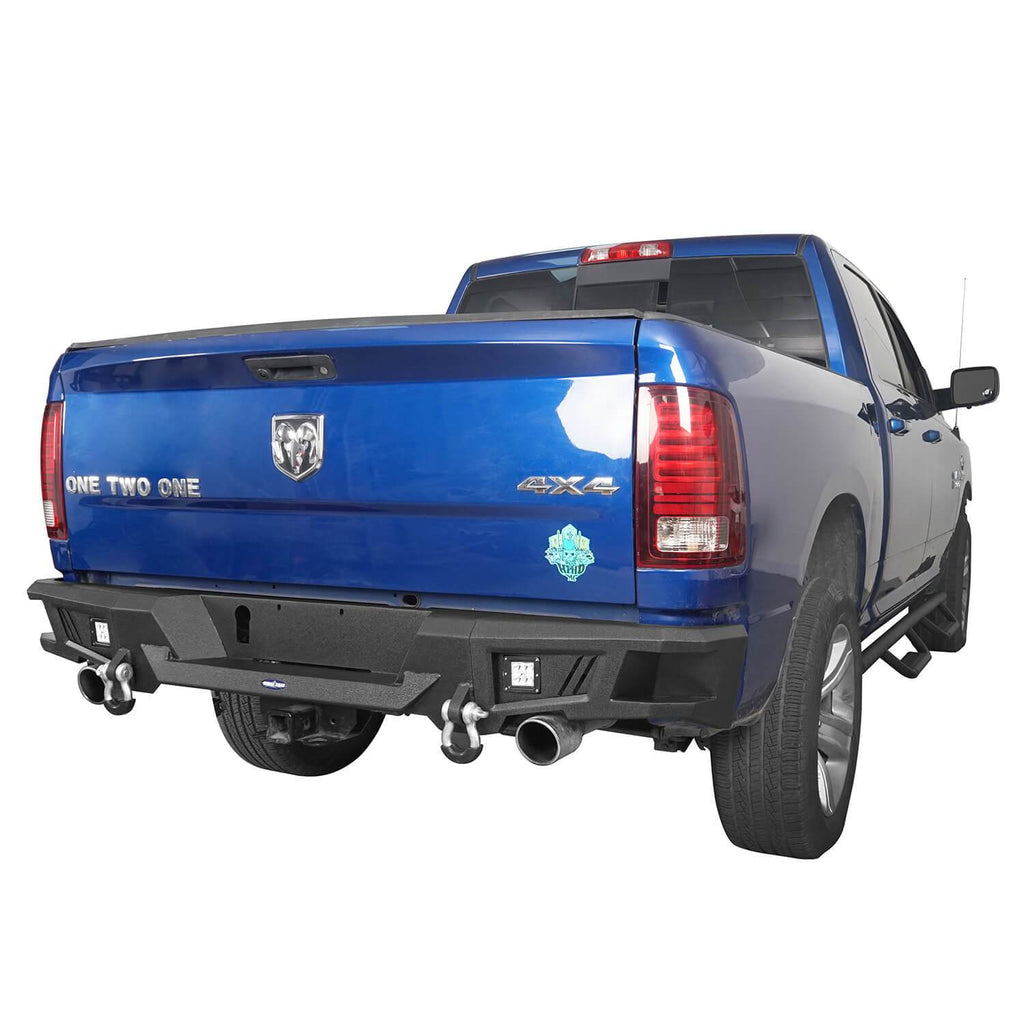 "Front Bumper & Rear Bumper & 24.4"" High Bed Rack(09-18 Dodge Ram)"