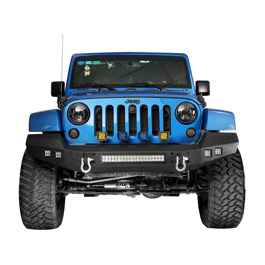 Full width Front Bumper & Rear Bumper w/Oil Drum Rack Bar(07-18 Jeep Wrangler JK)