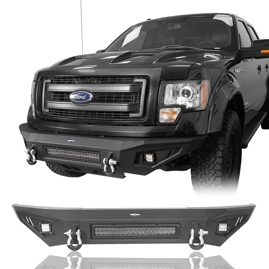 Front Bumper w/Light Bar & Rear Bumper & Roof Rack(09-14 Ford F-150, Excluding Raptor)