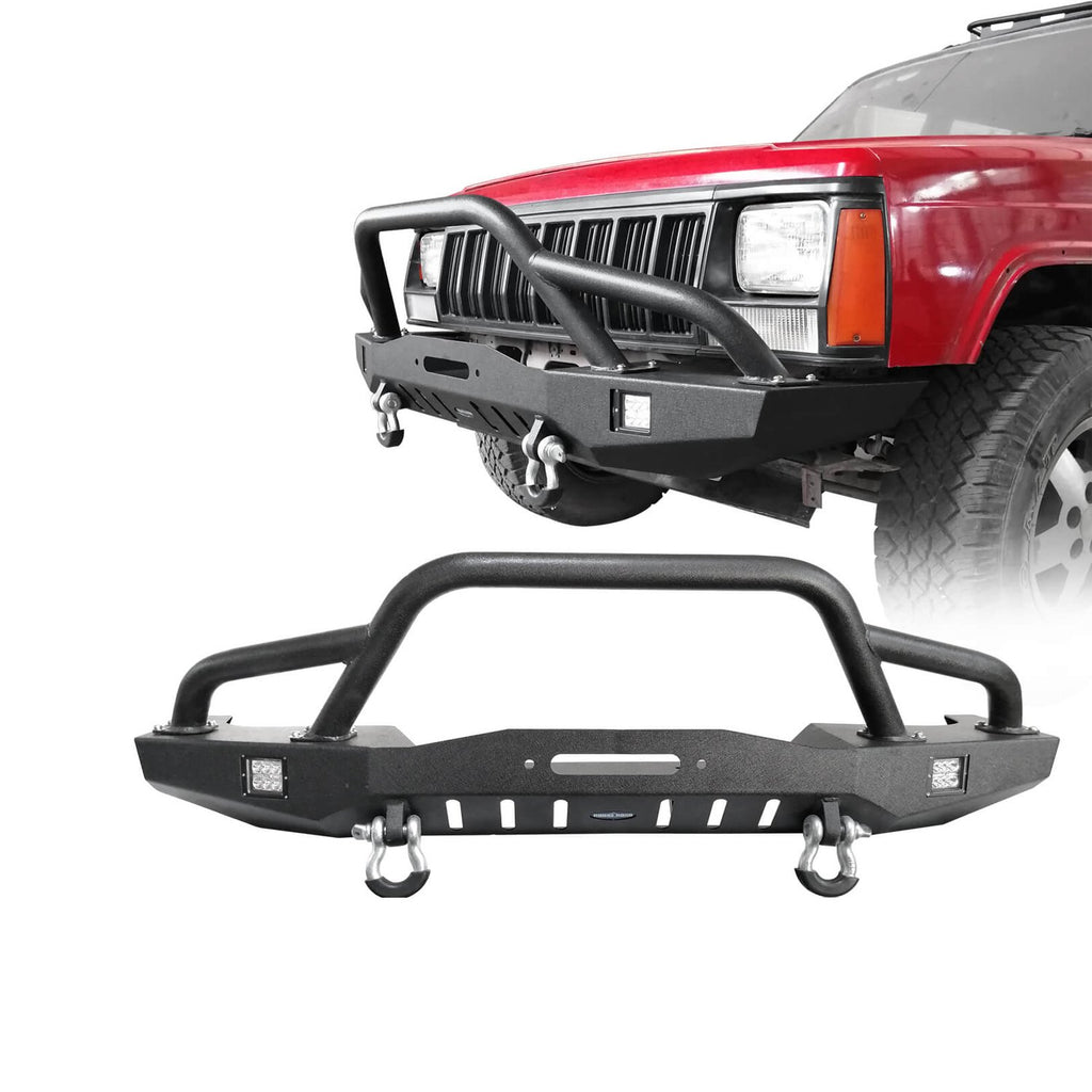Full Width Front Bumper w/2 ¡Á18W LED Spotlights for 1984-2001 Jeep Cherokee XJ bxg320 1