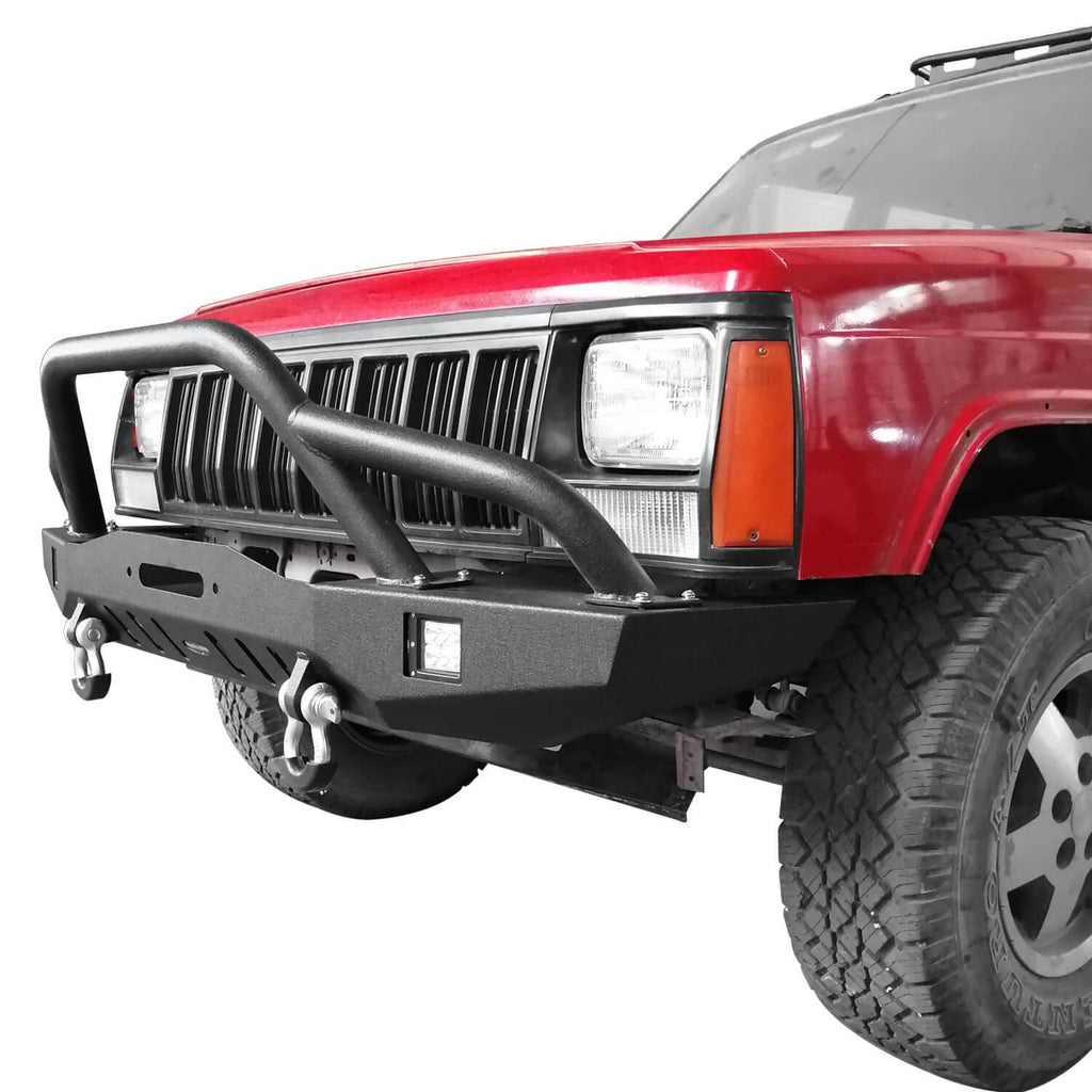 Full Width Front Bumper w/2 ¡Á18W LED Spotlights for 1984-2001 Jeep Cherokee XJ bxg320 2