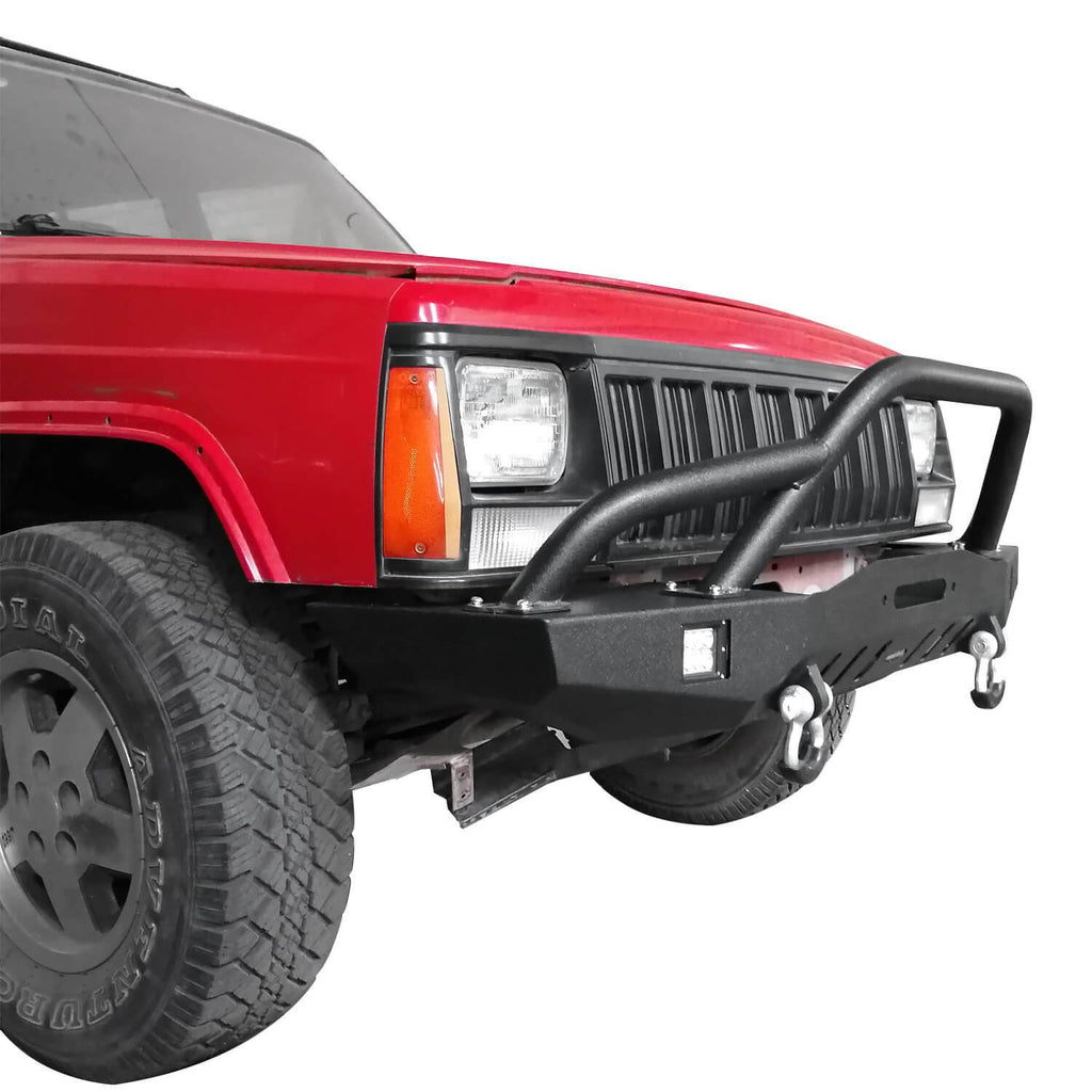 Full Width Front Bumper w/2 ¡Á18W LED Spotlights for 1984-2001 Jeep Cherokee XJ bxg320 4