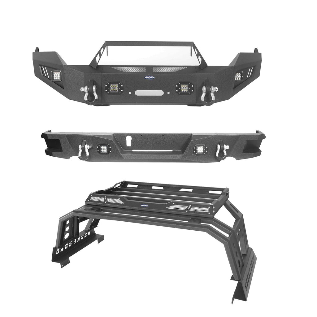 Full Width Front Bumper / Rear Bumper / Roll Bar Cage Bed Rack Luggage Basket(13-18 Dodge Ram 1500)